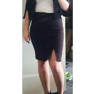 Black with White Spot Pencil Skirt