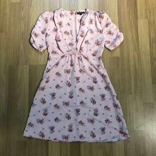 Topshop Pink Ditsy Dress