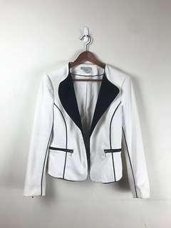 H&M White Blazer with Black Piping