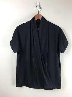French Connection Black Canopy Draping Blouse