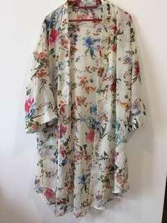 Floral Cardigan - White Preloved