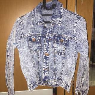 Acid Blue Denim Jacket Jeans biru muda jaket