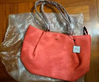 Peachy pink tote bag (multi-pouches) 桃紅色多格手袋