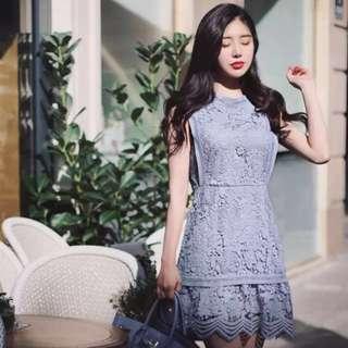全新 蕾絲修身顯瘦連身裙