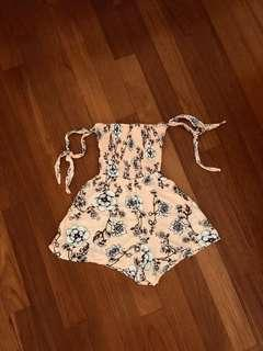 factorie peachy pink floral romper with self-tie straps / off shoulder