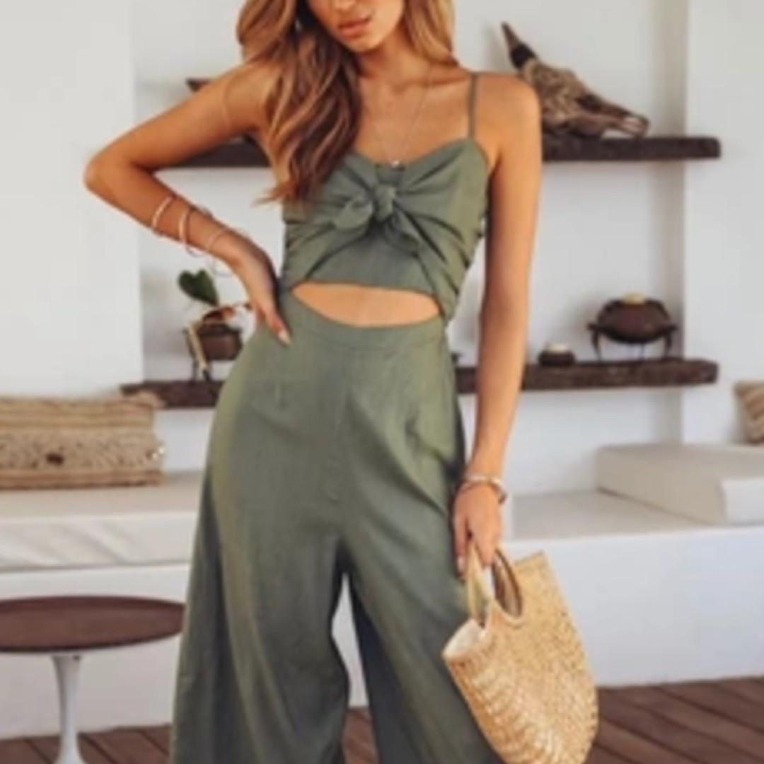 (2 Colours) Ribbon Tie Front Cut Out Army Green Jumpsuit Playsuit #endgameyourexcess