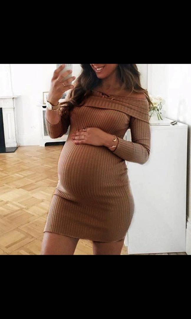 孕婦裝 大碼 Long Sleeve Off Shoulder Nursing Maternity Dress plus size 大肚媽媽長袖靚料One Piece 4色入