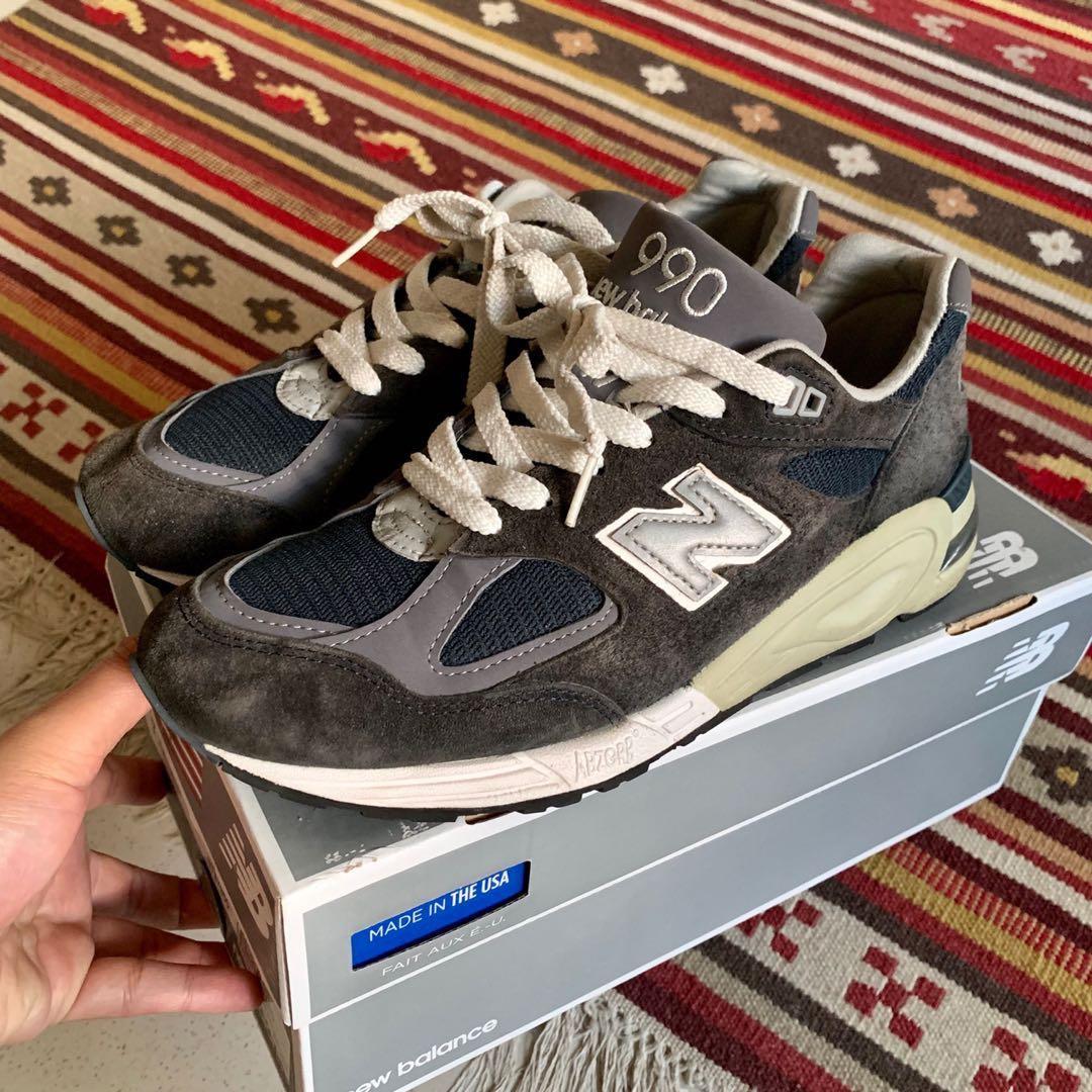 check out d4935 2f6ed 美國製 new balance 990 nv2 海軍藍 慢跑鞋 休閒鞋 余文樂 m990v2