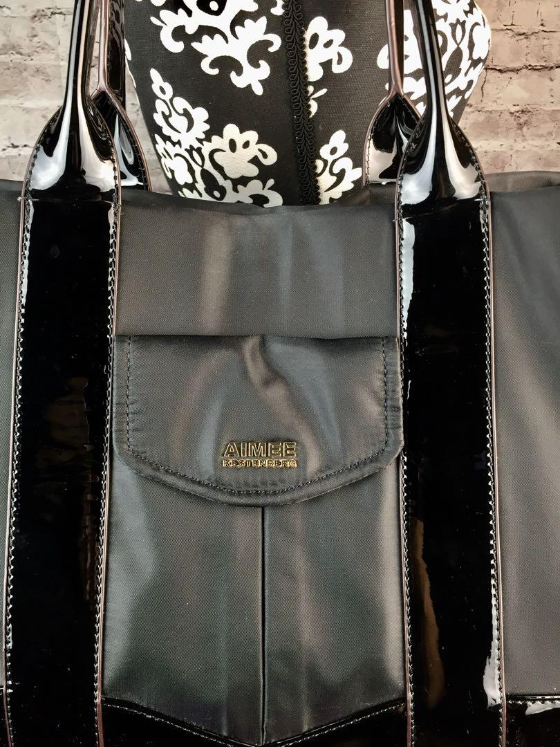 AIMEE KESTENBERG Heston Black Nylon Patent Leather Tote Shoulder bag Travel  EC