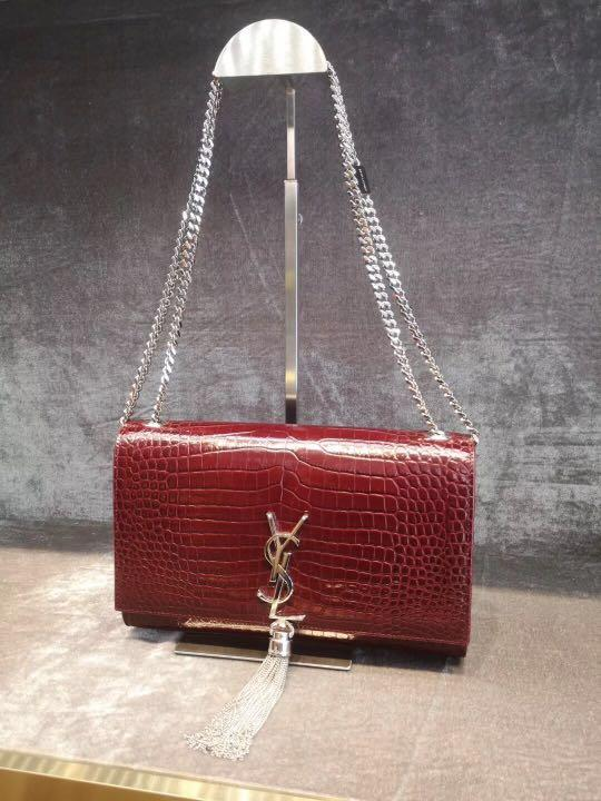 Authentic Pre-loved YSL Saint Laurent Kate Croc Embossed Leather Tassel Bag