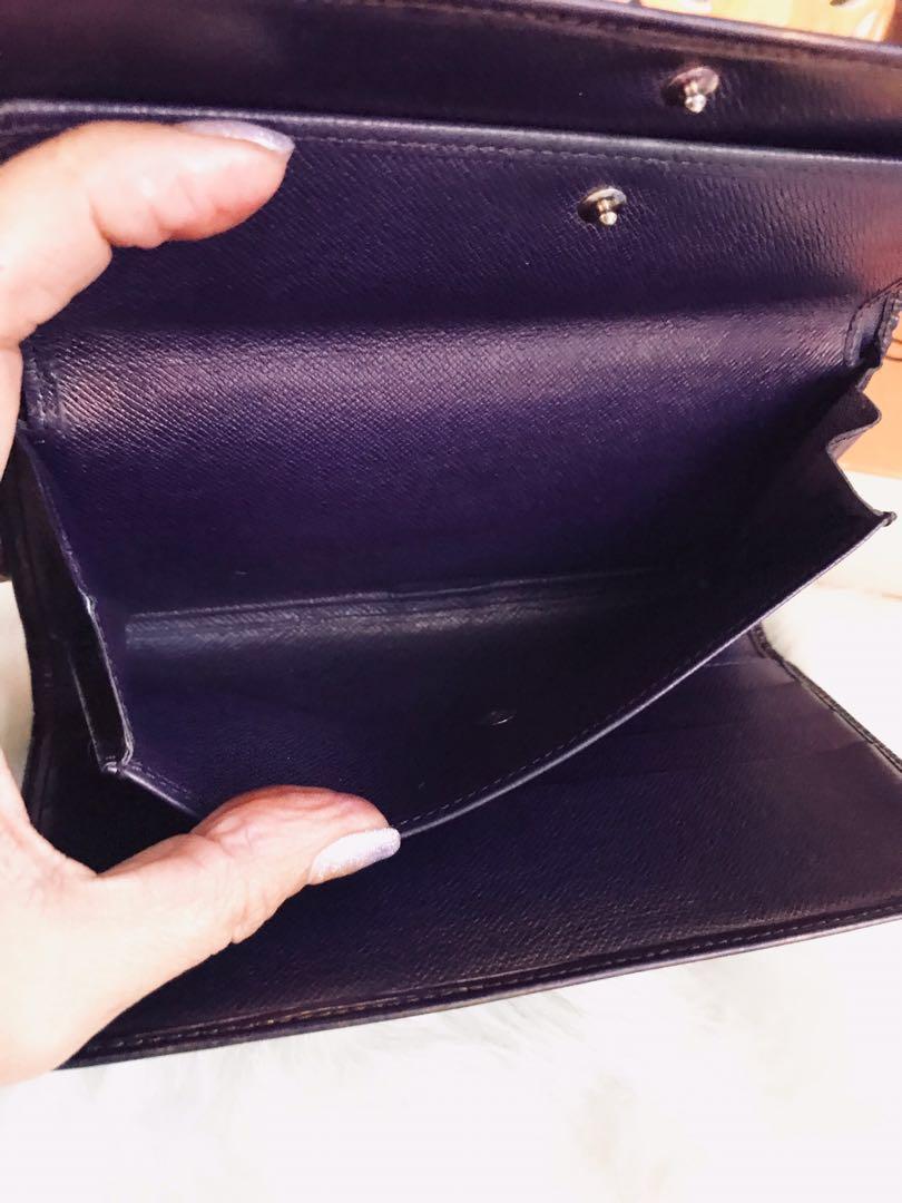Authentic Vintage Louis Vuitton Portefeuille Tresor Epi International Long Wallet Purple