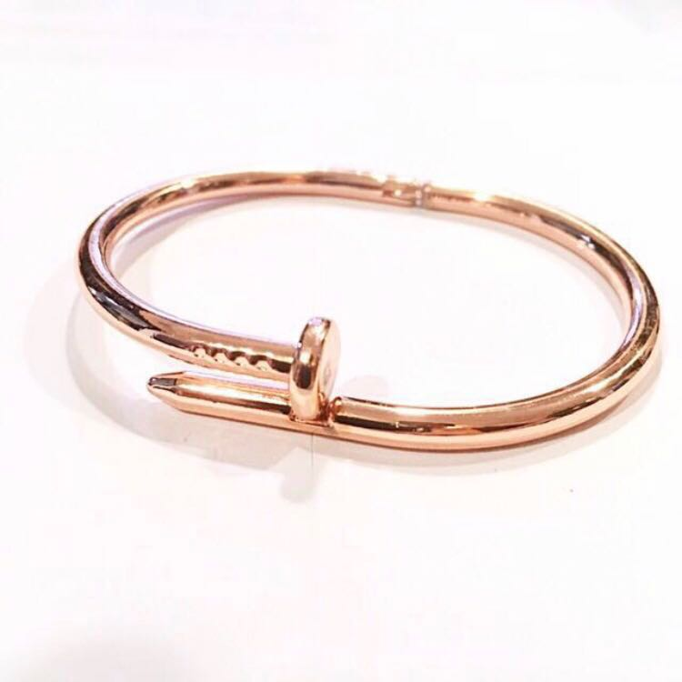 58b9e6c1 BN Rose Gold Nail Bangle Bracelet Cartier Style with Linen Pouch ...