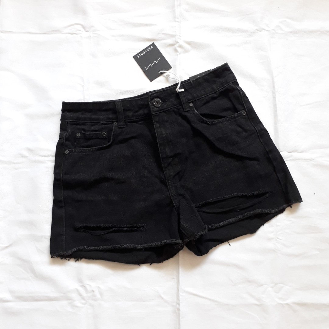 a31cfcf54 bnwt factorie slit mom denim shorts high waist highwaisted black hws ...