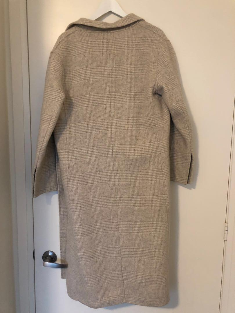 Brand new 95% wool hand made designer brand checked coats