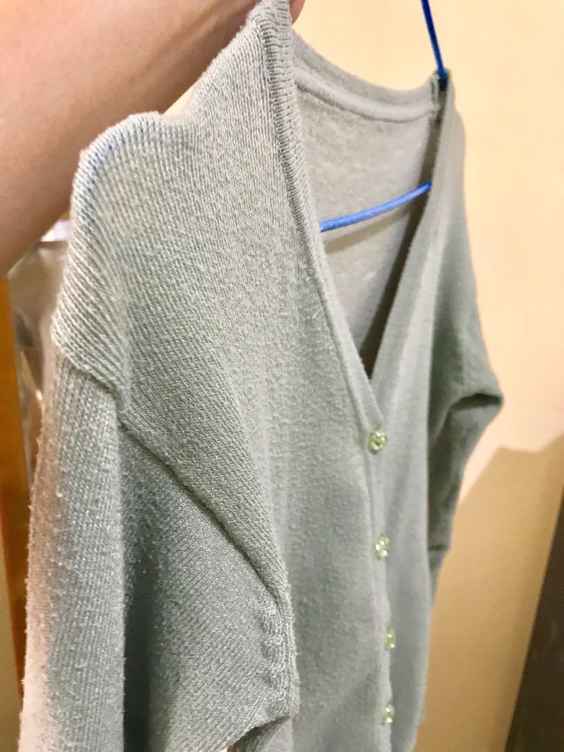 Cardigan Basic Rajut Hijau Mint