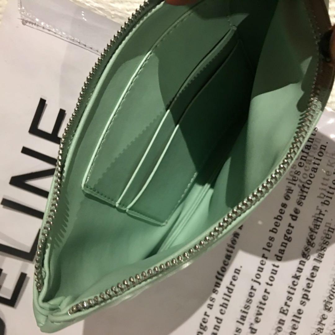 CELINE clear PVC plastic tote bag with a mint green handbag