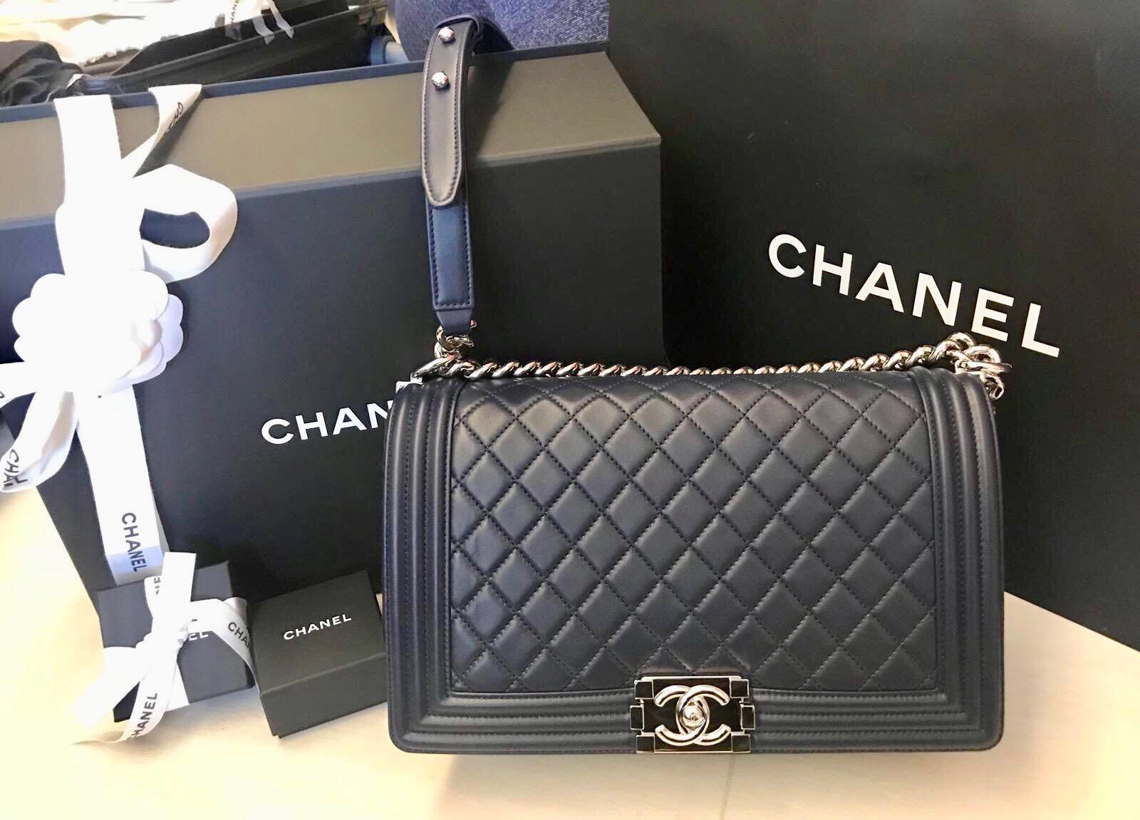 8a1ae0c0c3ab Chanel boy medium-dark blue, Luxury, Bags & Wallets, Handbags on ...