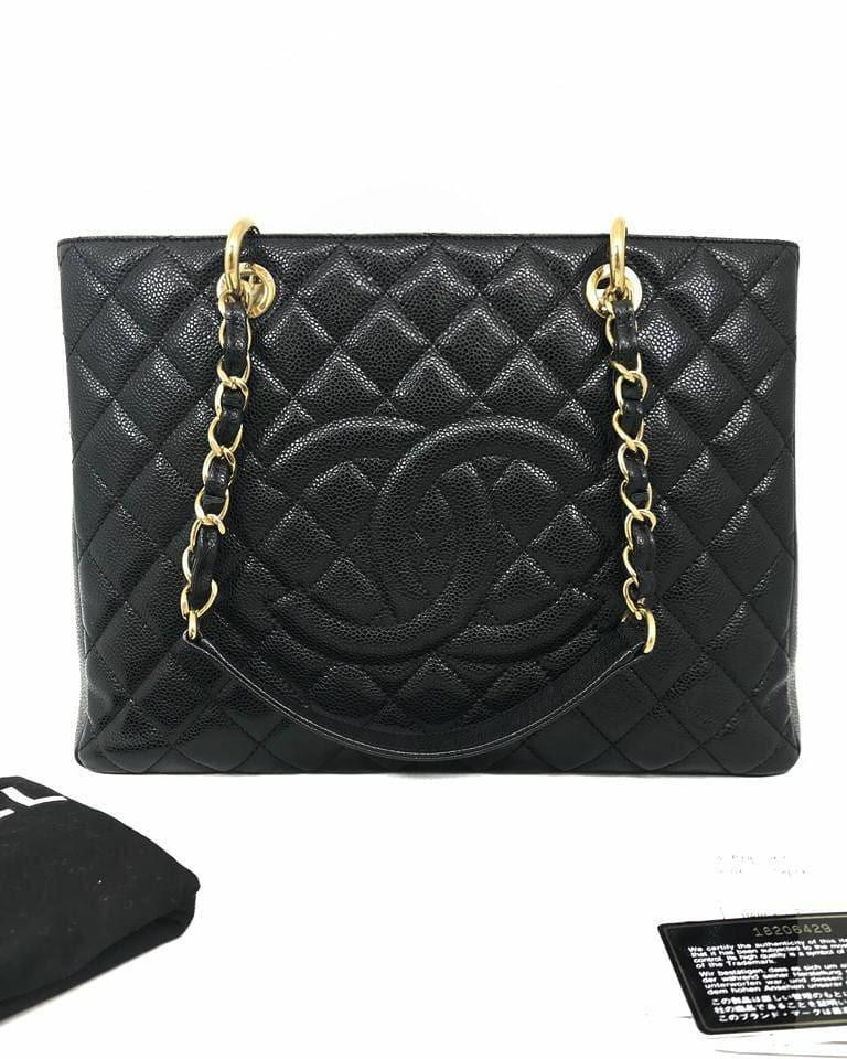 CHANEL GST Black Caviar GHW # 18 • 34 x 24 x 13 CM • Comes with holo, card, dust bag & receipt August 2013 • Very good condition