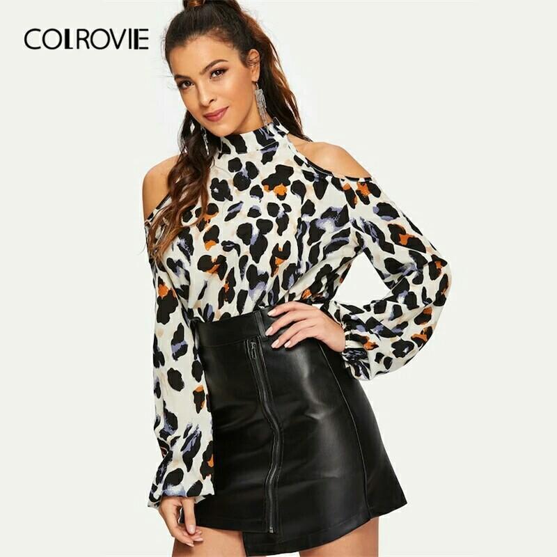 77672cfc Cold Shoulder Leopard Print Blouse Women Shirts 2019 Spring Korean ...