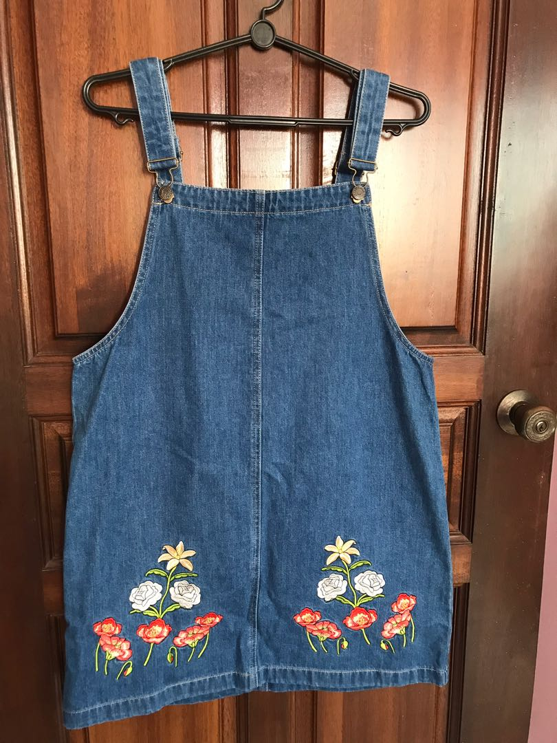 1236440a6e8 Denim Pinafore Dress with Floral Embroidery