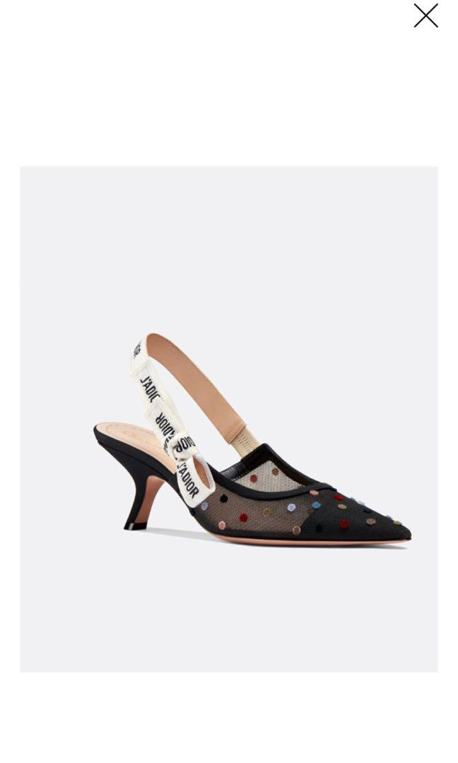 Dior - J'Adior tulle slingback embroidered with mini velvet polkadots
