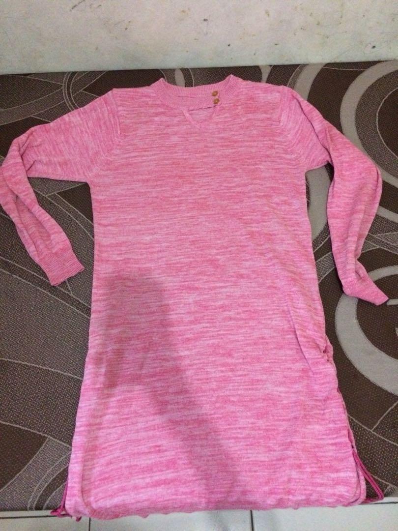 Dress pink rajut