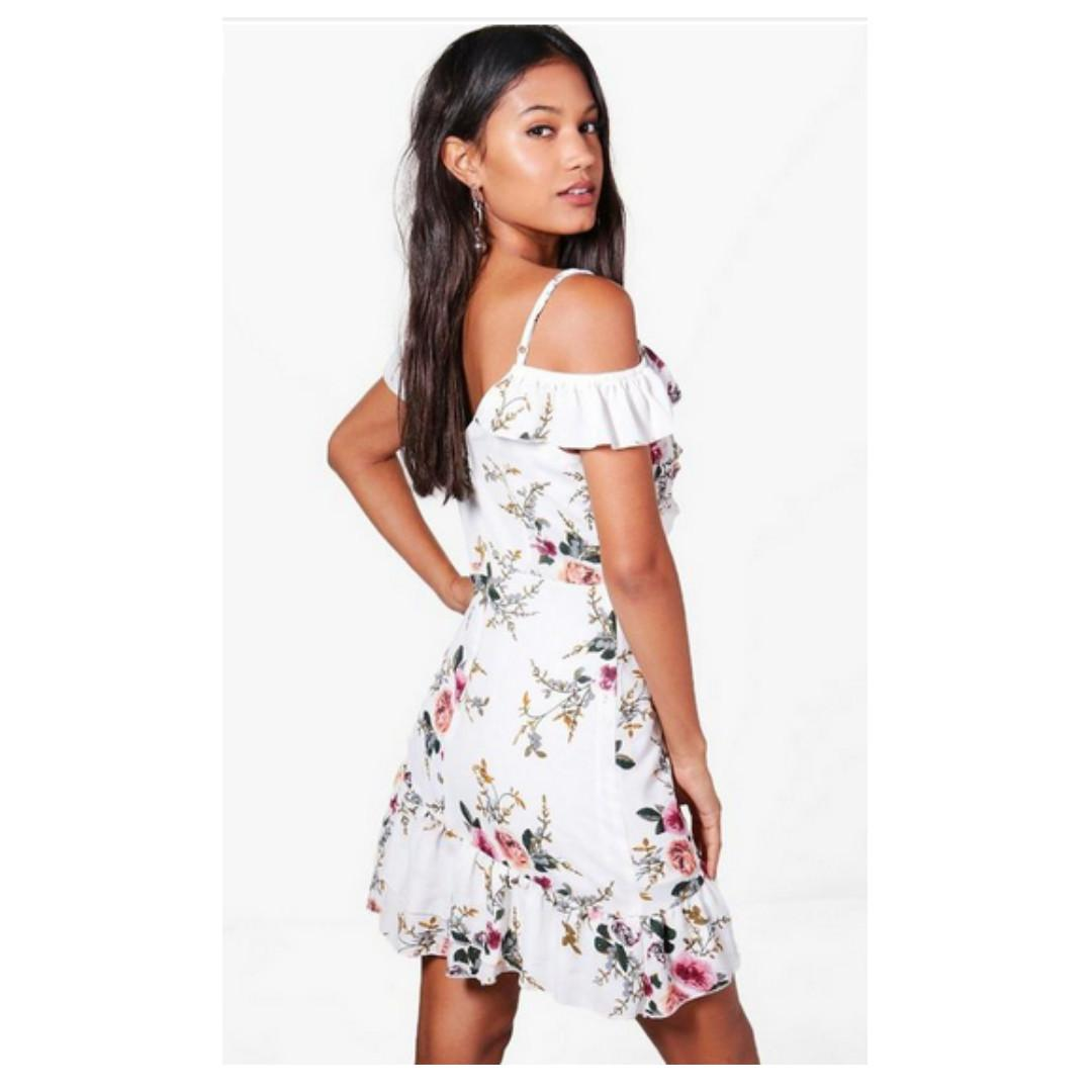 Floral Cold Shoulder Frill Hem Dress (from boohoo.com) in white (size small/6)