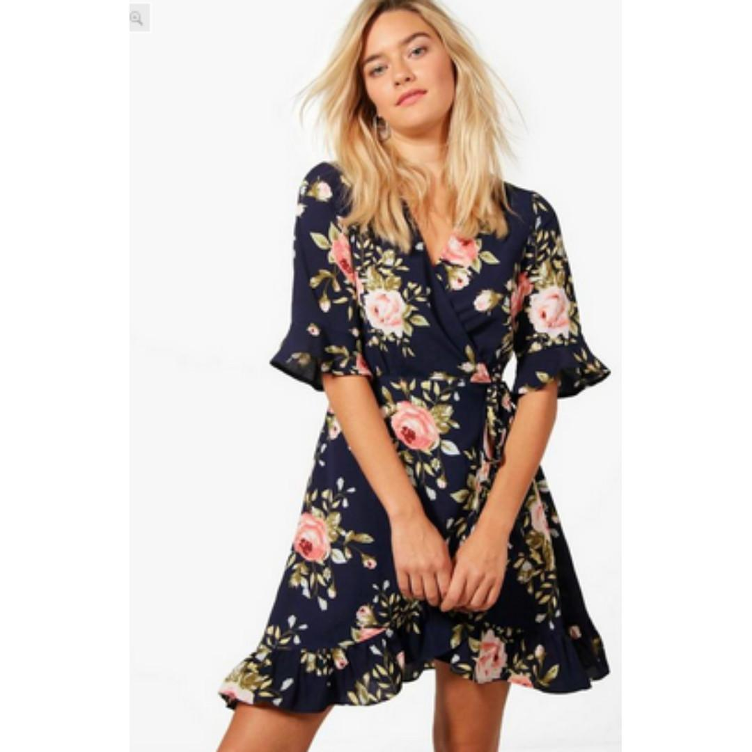 Floral Frill Hem Wrap Dress (from boohoo.com) in Navy (size small/6)