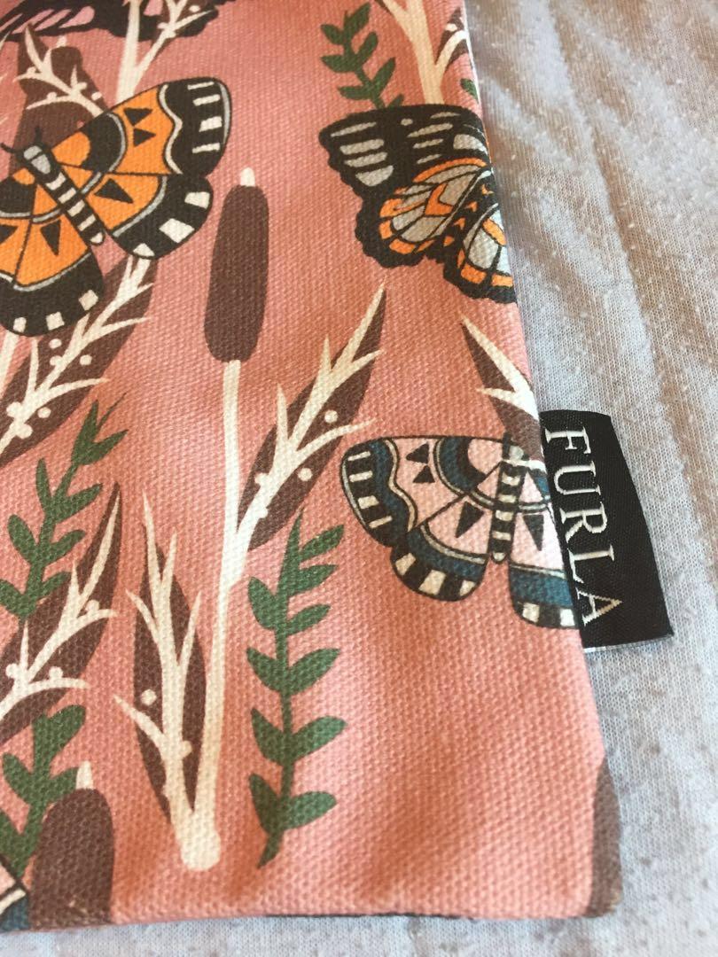 Furla Tog Bag 花花 蝴蝶 粉紅色 布袋 shoulder tote bag flower butterfly pink box 有盒 全新 NEW