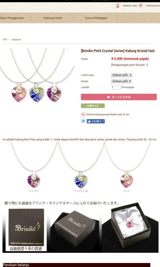 Kalung Crystal Swarovski made in Japan