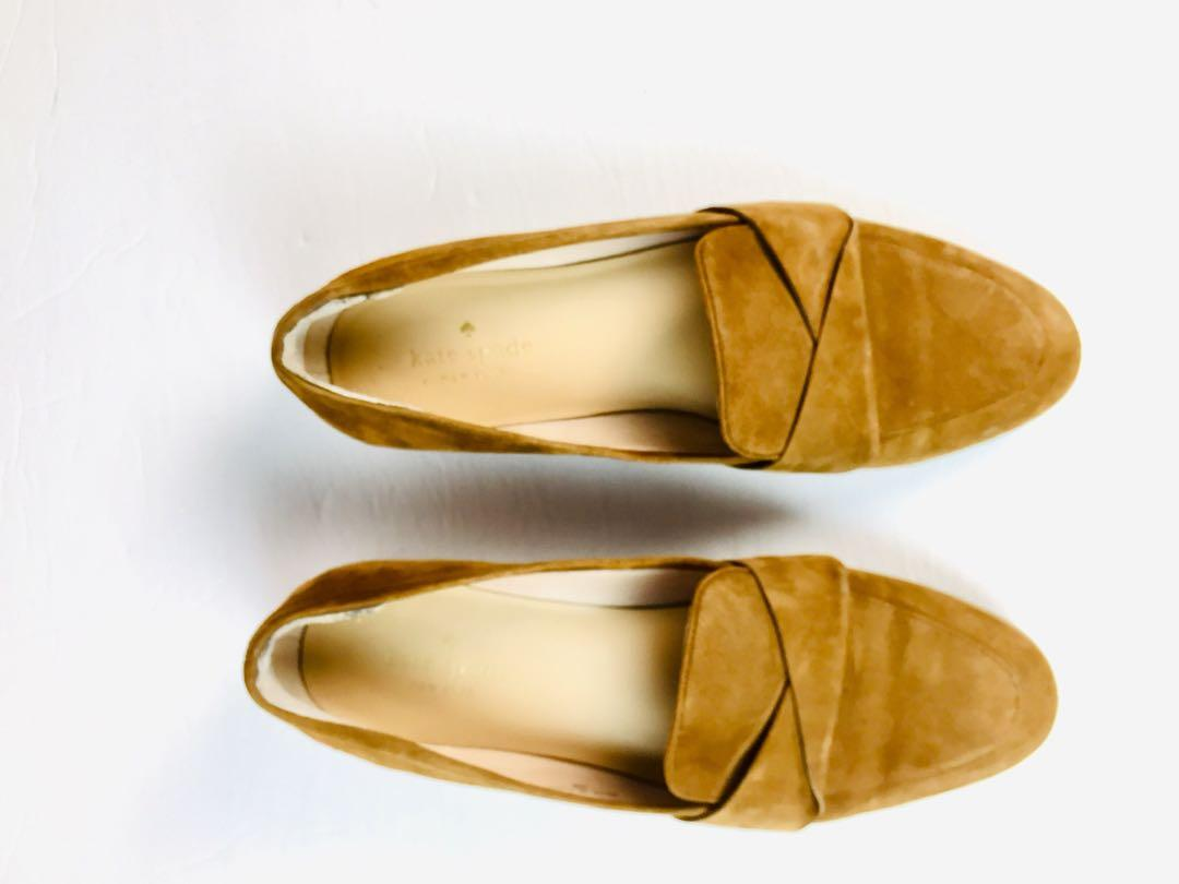 Kate Spade SATCHI Slip on Suede Flat Loafers Brown Shoes 8M