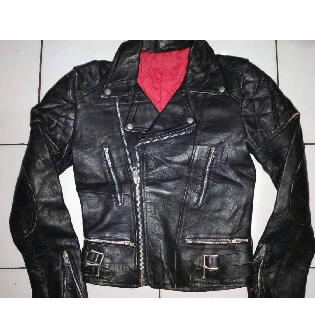 Leather jaket kulit double kerah perfecto