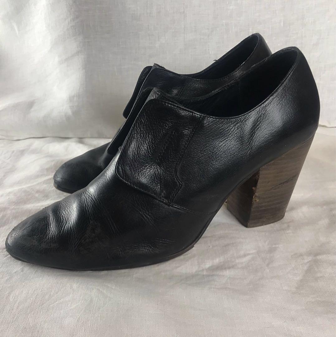 Midas Acne Studios Imitation Black Leather Wooden Block Heal Shoes