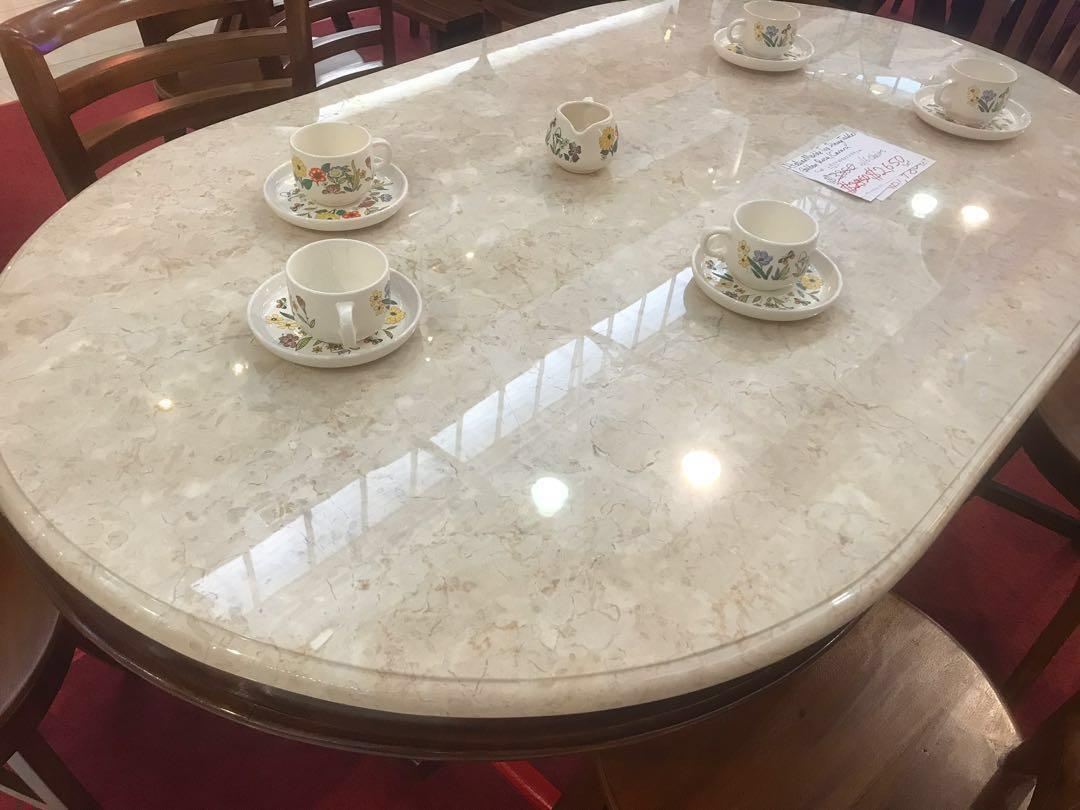 Oval Italian Marble Dining Table Furniture Tables Chairs On Carousell