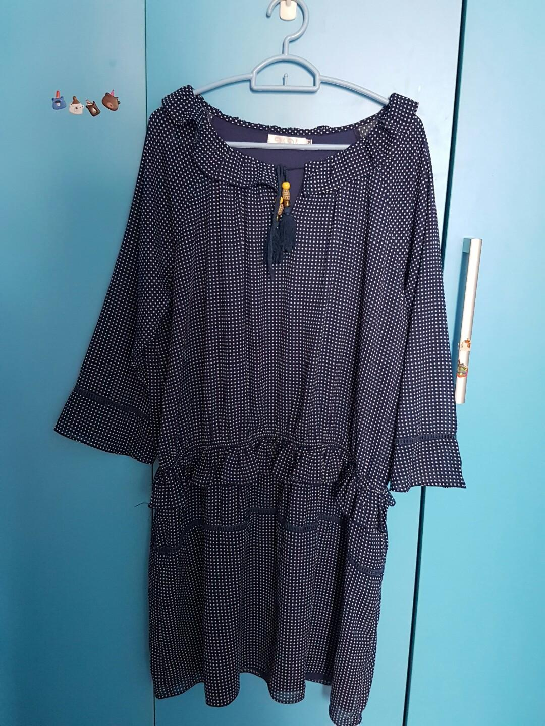 Poka dot navy blue dress