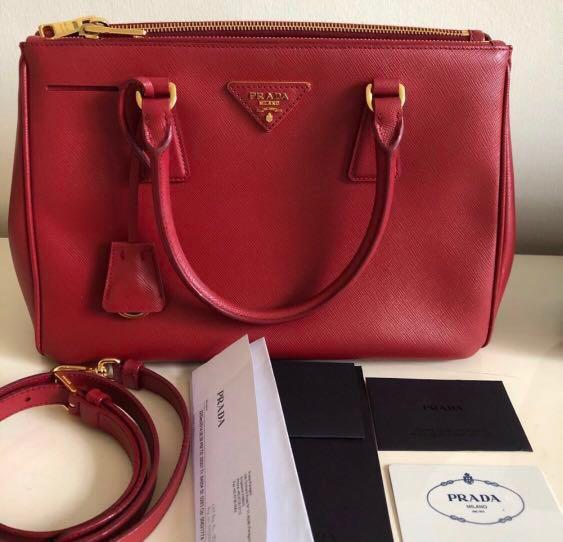 591978cfa38b Prada Saffiano Lux Fuoco Tu Bag, Luxury, Bags & Wallets, Handbags on  Carousell