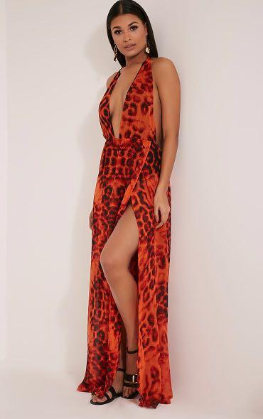 PrettyLittleThing Orange Leopard Print Plunge Maxi Dress
