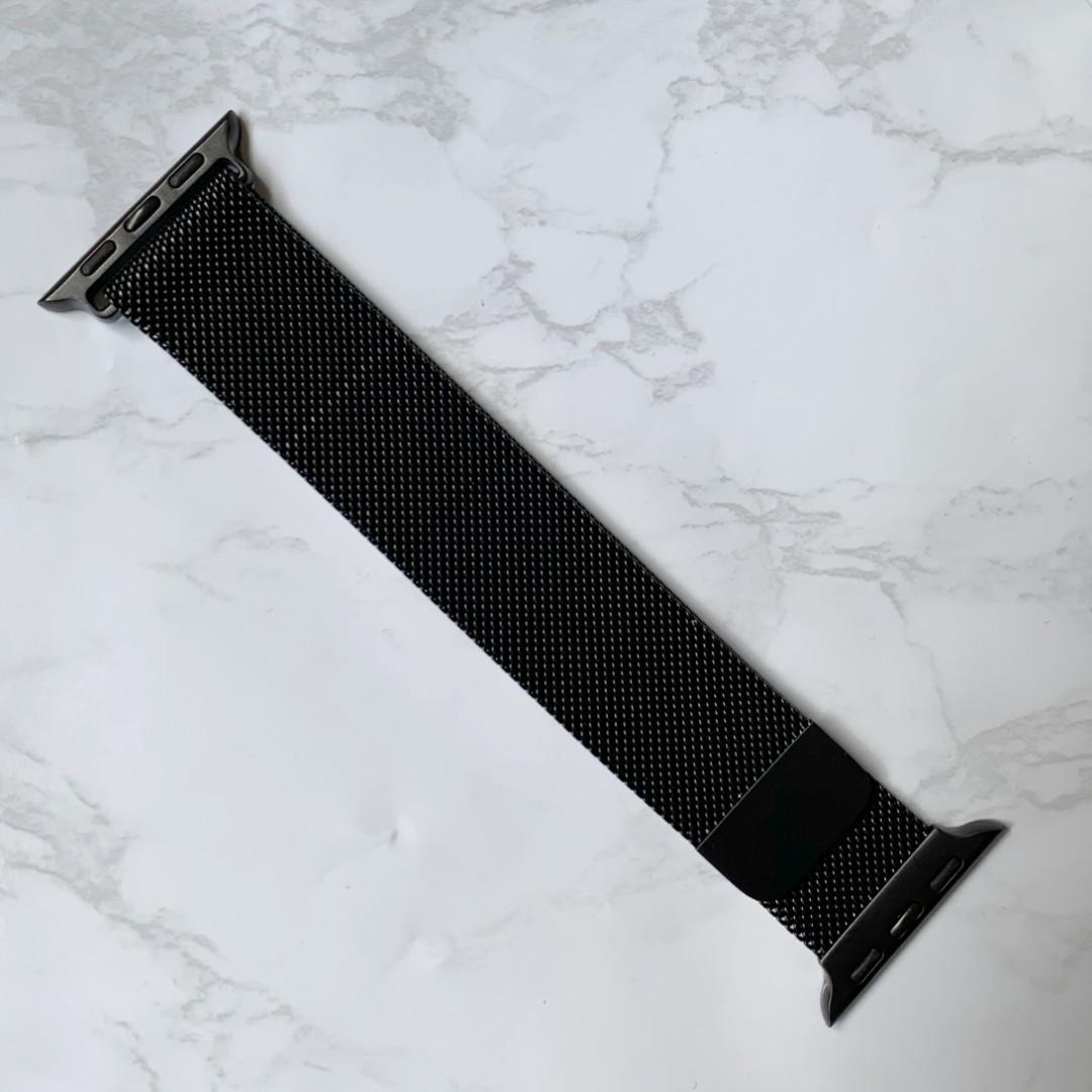 [READY STOCK] Black Magnetic grip Stainless Steel Milanese Strap for Apple watches series 1-4, iwatch size 38/40/42/44mm