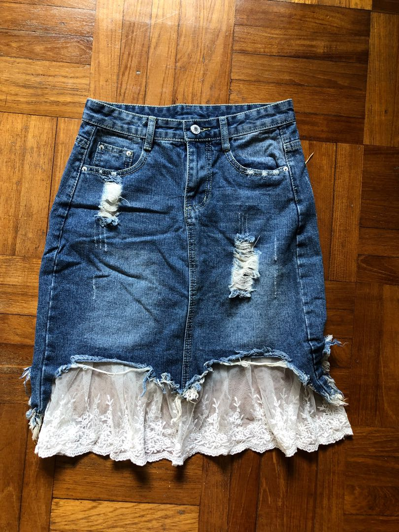 selected material best sale hot-selling clearance Ripped Denim Skirt with lace, Women's Fashion, Clothes ...