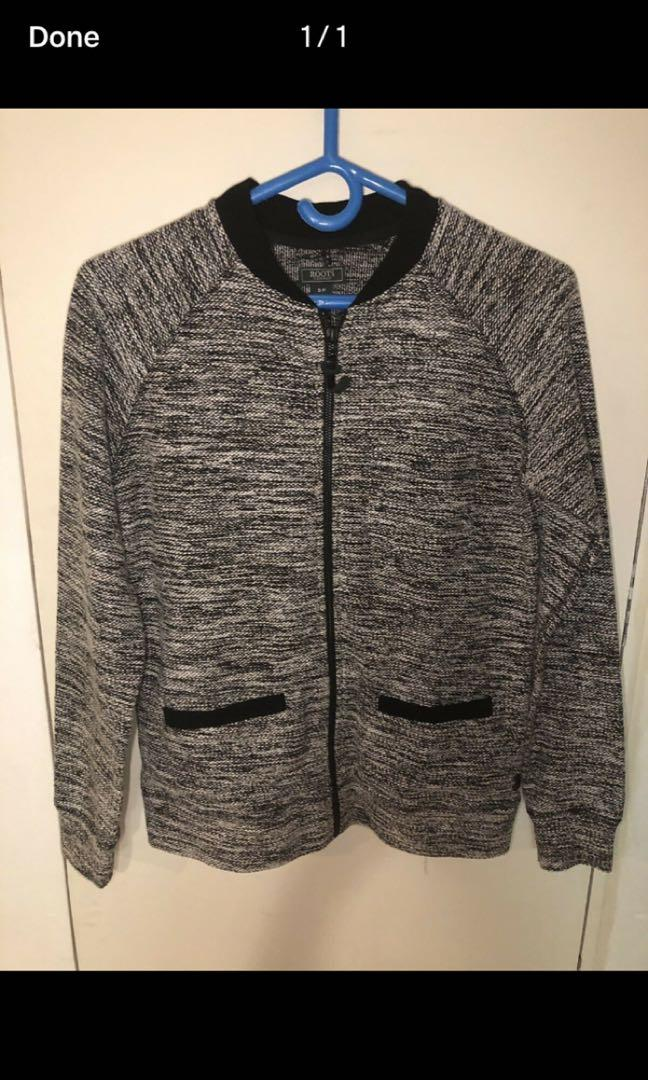 Roots salt and pepper zip up sweater jacket size small