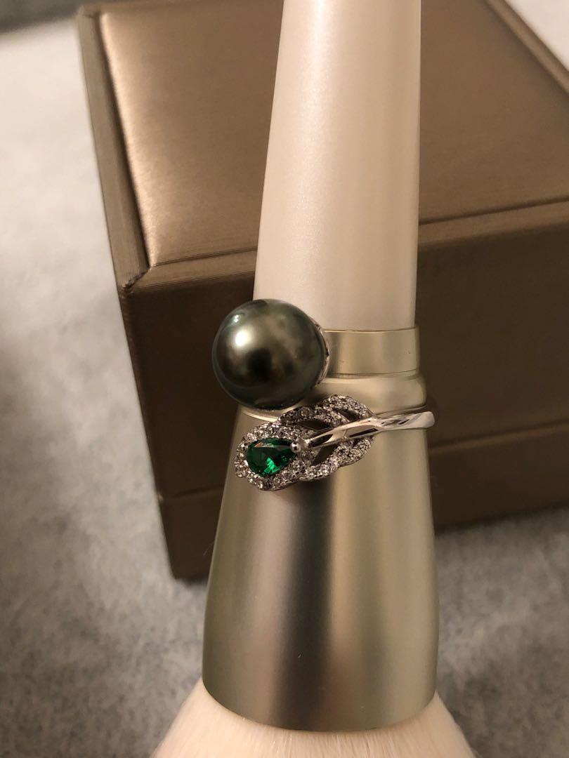 S925 Sterling Silver Genuine Tahiti Black Pearl Ring