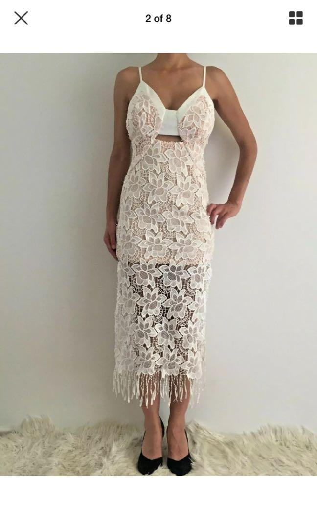Women's Sleeveless White Crochet Eve Party Midi Dress