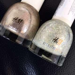 2 bottles H&M nailcolors -Time to shine + Gilt Trip