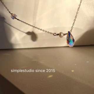 American 14K Gold Filled Aurora Swarovski Crystal Necklace <PO Apr 2019 Collection>