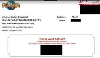 Universal Studio Singapore USS adult tickets