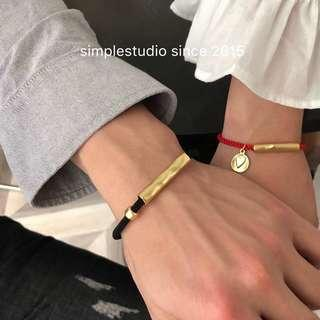🚚 Fog Matte Finished 14K Gold Plated Italian Strings Couple Bracelet <PO Apr 2019 Collection>