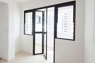[BN] HDB service yard glass bifold door and windows