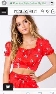 BN Princess Poly red cropped floral square neck blouse