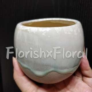 Turquoise Ombre Glazed Ceramic Pot #MRTSerangoon