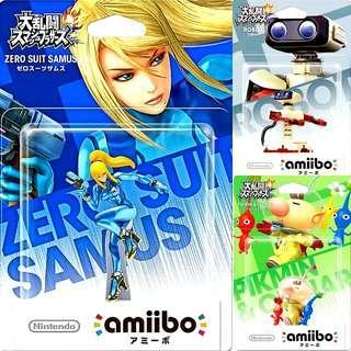 Nintendo Amiibo Zero Suit Samus, Robot And Pikmin & Olimar Super Smash Bros.Series Figure MISB